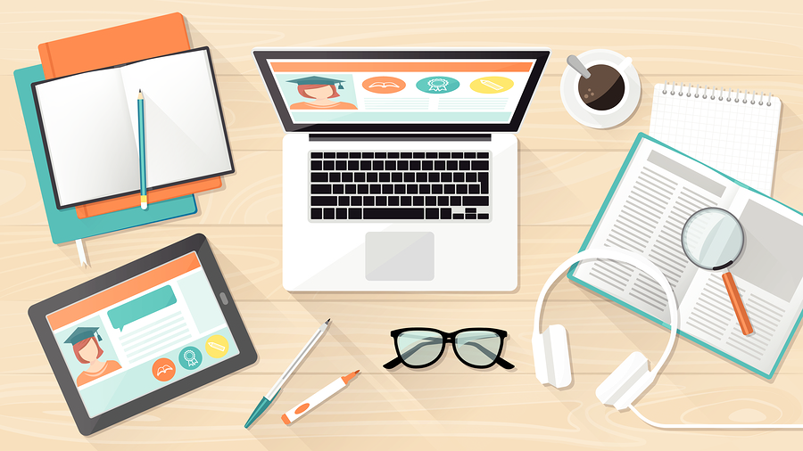 E-learning education and university banner student's desktop with laptop tablet and books